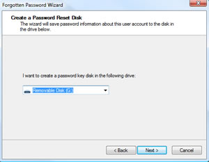 The Create a Password Reset Disk screen