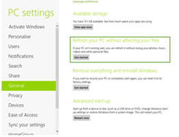 Windows 8 Recovery Options